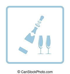 Party champagne and glass icon