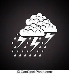 Thunderstorm icon. Black background with white. Vector...