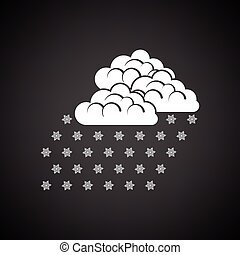 Snowfall icon Black background with white Vector...