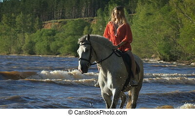 A sexy beautiful young woman riding a horse at a beach...