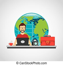 business person worker icon vector illustration design