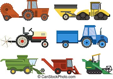 Harvester machine - Set of different types of agricultural...