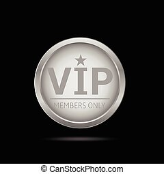 Silver Vip label. Silver metal badge, business theme