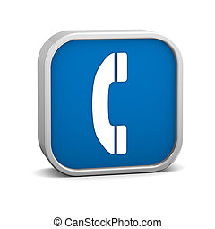 Dark Blue Phone Sign - Dark Blue phone sign on a white...