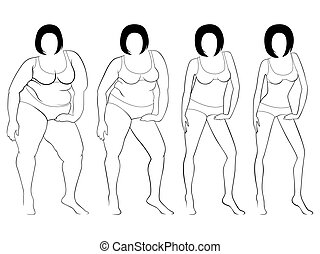 Four stages of a female slimming, contours