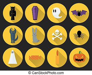 Set of vector flat design Halloween icons. - Set of vector...