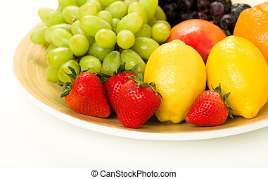 Fruit Platter with Red Grapes, Green Grapes, Mango, Lemon,...