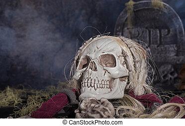 Halloween Grim Reaper - Grim reaper skull in a halloween...