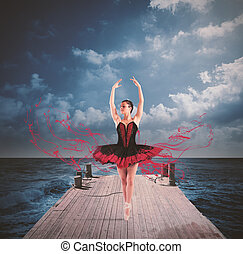 Dancer on a floating dock - Classical dancer with tutu...
