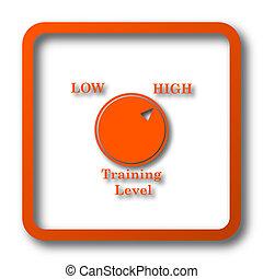 Training level icon. Internet button on white background.