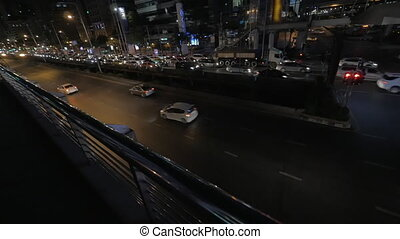 Busy traffic on night roads of Bangkok, Thailand - Night...