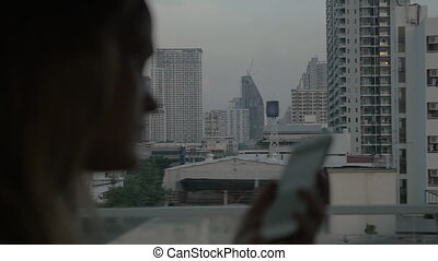 Evening bus travel in Bangkok, Thailand - Slow motion shot...
