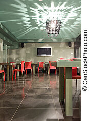 interior of cafe with shiny chandelier