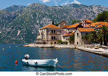 Perast city, Montenegro - Panorama view of Perast city in...