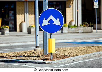 Two way road sign - Road sign with two way left and on the...