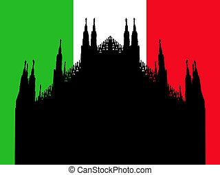 Duomo Milan with flag - Duomo Milan against Italian flag...