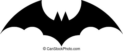 Black bat silhouette on white background