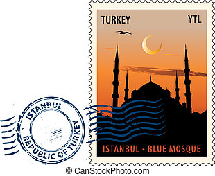 Postmark from Istanbul - Postmark with night sight of the...