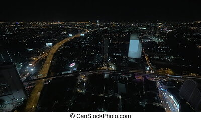 Evening panorama of Bangkok, Thailand Seen night city,...