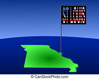 St Louis Missouri - Map of Missouri with position of St...