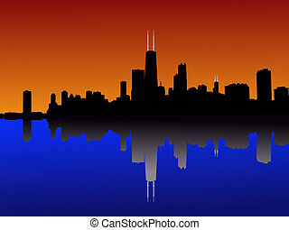 Chicago Skyline at sunset reflected in lake michigan