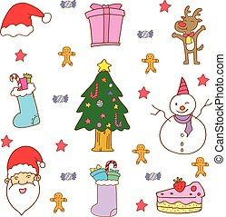 Doodle of Christmas full color vector for kids