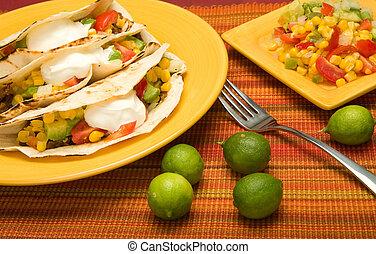 carne de vaca, doblado, tortilla, Tacos
