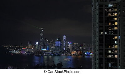 Light show in Hong Kong at night