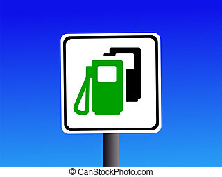 petrol and diesel sign on blue sky illustration