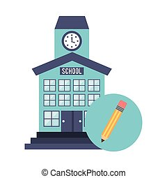 school building with education icon