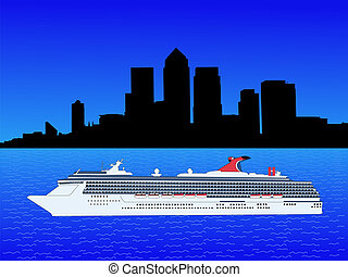 Cruise ship and Docklands Skyline