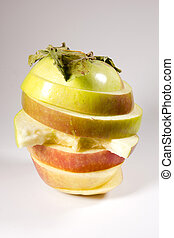Ripe apple sliced layers - Ripe apple sliced in layers on a...