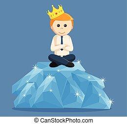 King businesssman sit on diamond
