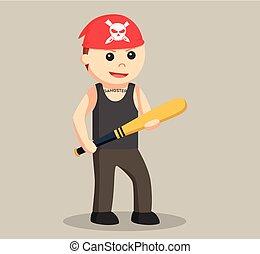 Gangster wield baseball bat