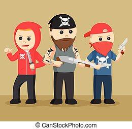 Gangster in action vector illustration design