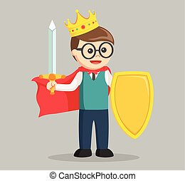 King nerd with sword and shield