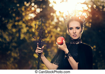 Evil Queen with Poisoned Apple - Beautiful dark princess...