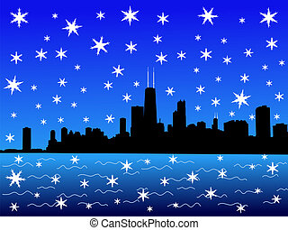 Chicago Skyline in winter with falling snow