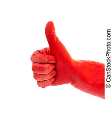 hand in red glove with gesture of thumbs up on white background