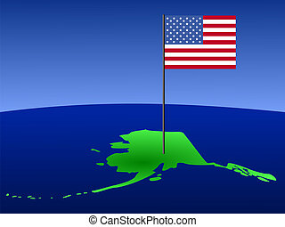 Map of Alaska with flag