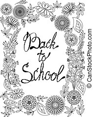 Back to school background black and white - Vector back to...