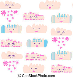 Clouds seamless pattern and seamless pattern in swatch menu,...