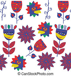 Floral seamless pattern, vector. It is located in swatch...