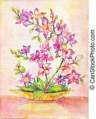 Orchid picture. Bouquet of pink flowers. indoor plant....