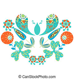 Paisley floral colorful ornament vector