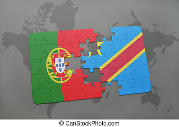 puzzle with the national flag of portugal and democratic...