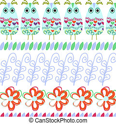 Floral vector background with owls for design
