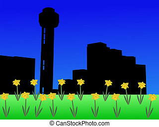 Reunion tower in spring - Reunion tower Dallas in spring...