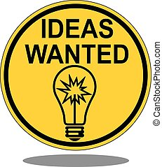 Wanted Ideas Road Sign vector - Wanted Ideas Road Sign Image...
