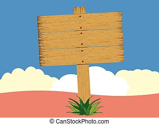 Rustic weathered wood sign with background. Has full layers...